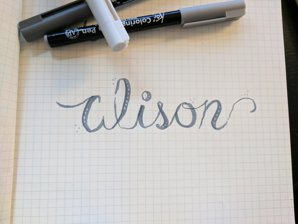 calligraphy sketch alison by alsnd12
