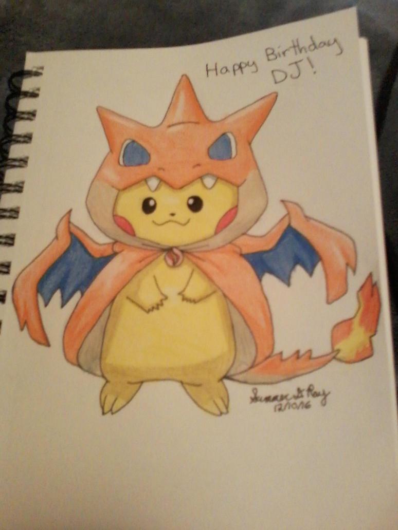 pikachu in charizard costume by HerHeart107