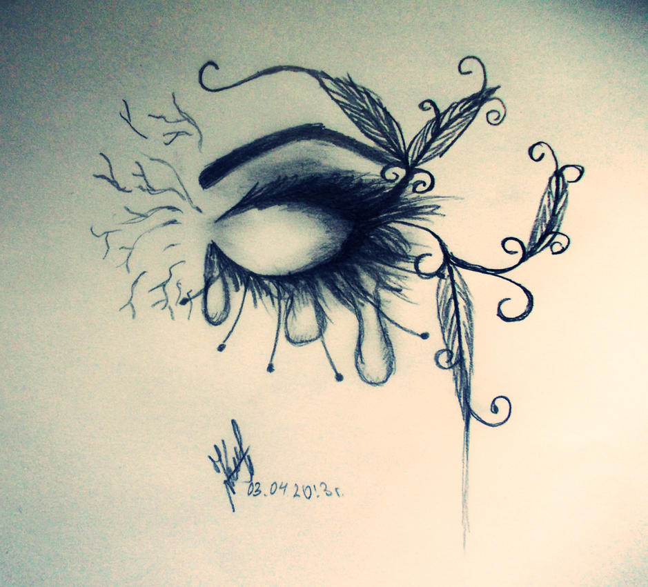 pictures of easy pencil drawings of eyes with tears