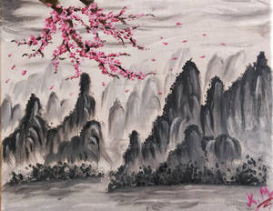 Chinese mountains and Sakura tree | Oil Painting
