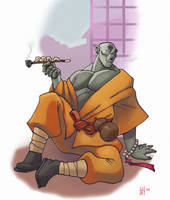 Half orc monk by Pachycrocuta