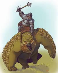 dwarf knight on owlbear