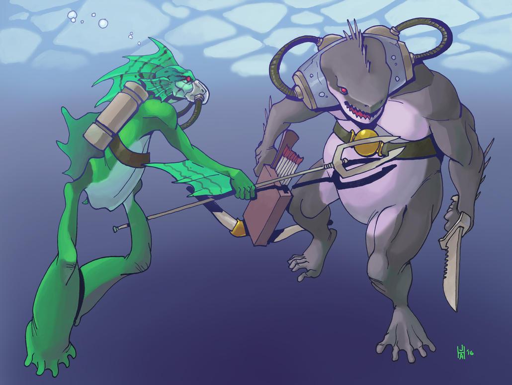 Fish-folk by Pachycrocuta