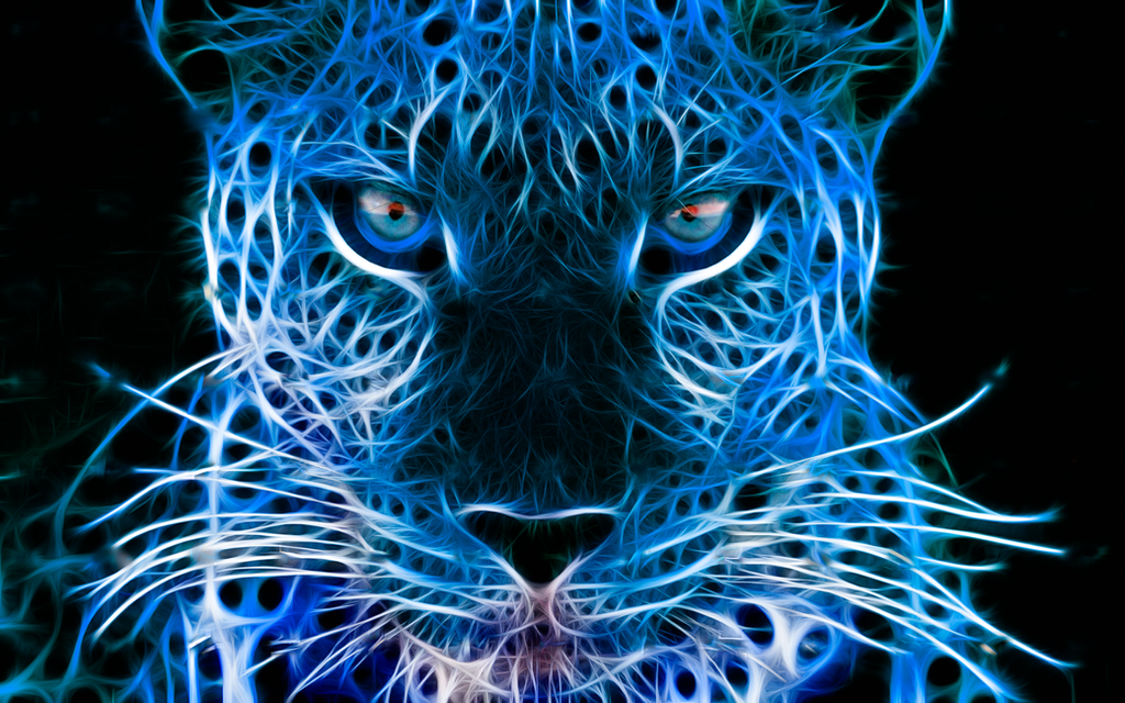 NEON BLUE LEOPARD by xinje on DeviantArt
