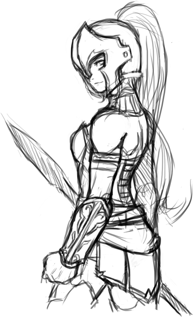 Hetai warrior sketch erotica girlfriend