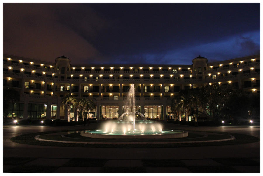 Hotel at night.