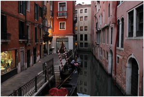 Gondolas in the Canal at Dusk by kamuidestiny