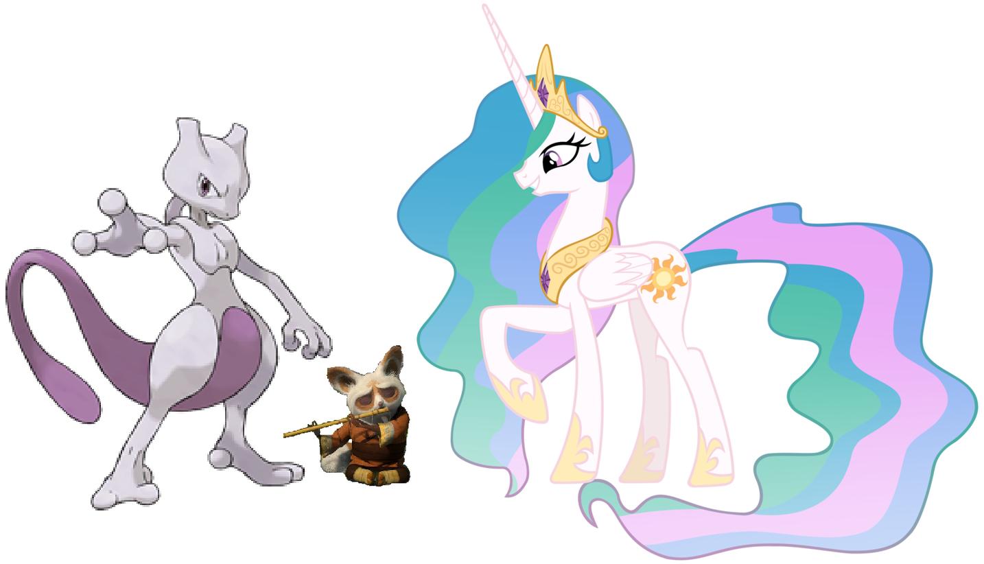 Princess Celestia, Shifu and Mewtwo by iamnater1225
