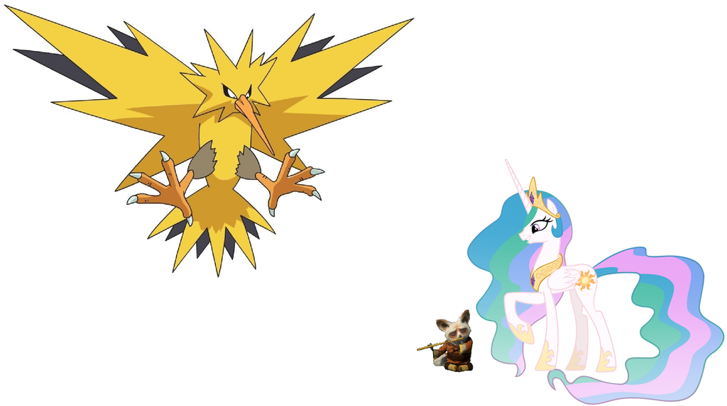 Princess Celestia, Shifu and Zapdos by iamnater1225