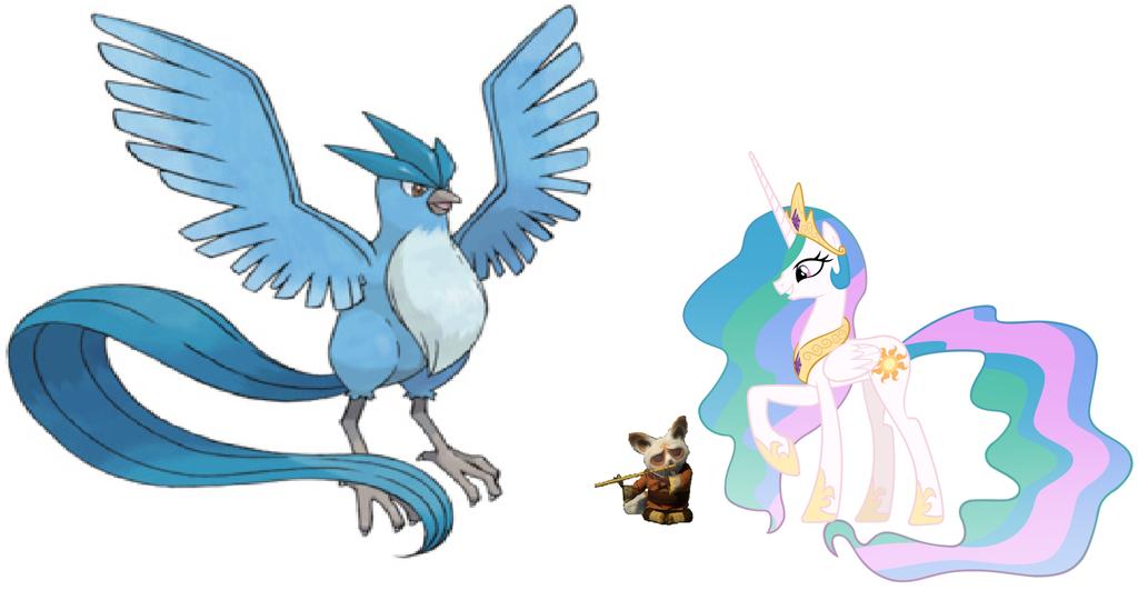 Princess Celestia, Shifu and Articuno by iamnater1225