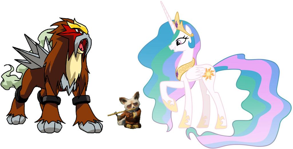 Princess Celestia, Shifu and Entei by iamnater1225