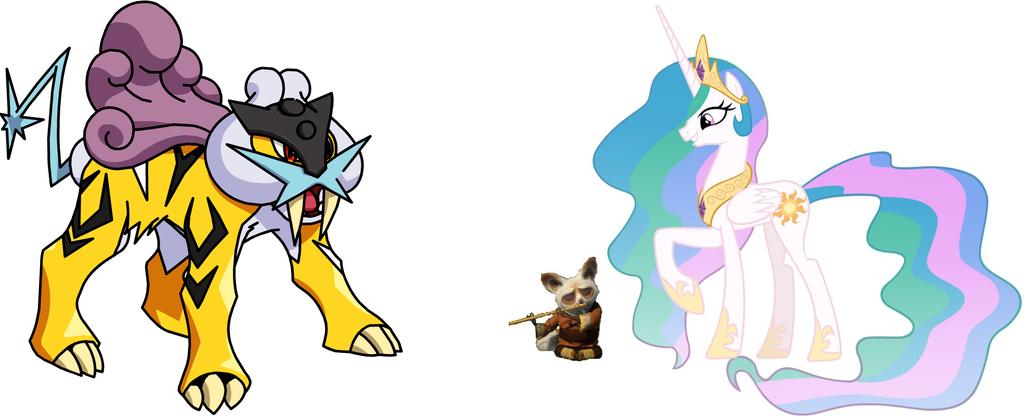 Princess Celestia, Shifu and Raikou by iamnater1225