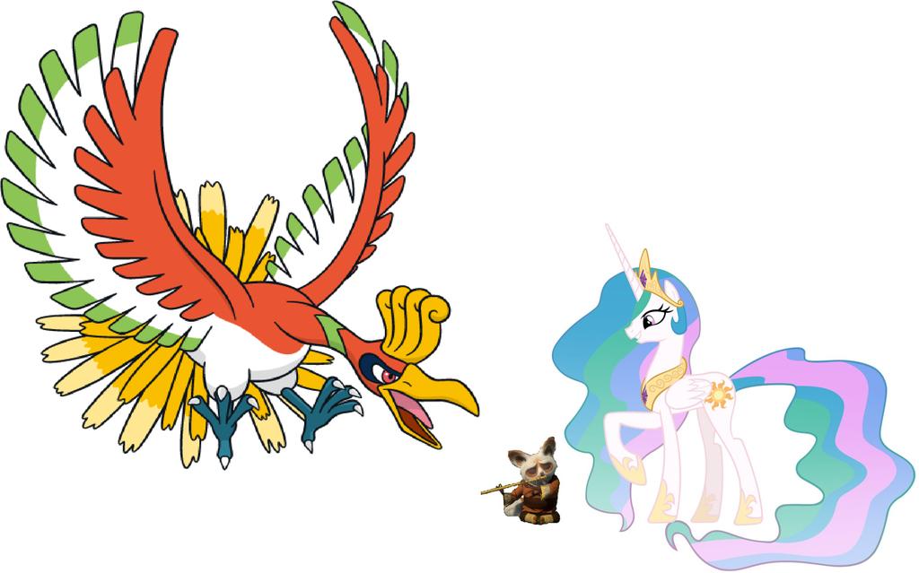 Princess Celestia, Shifu and Ho-Oh by iamnater1225