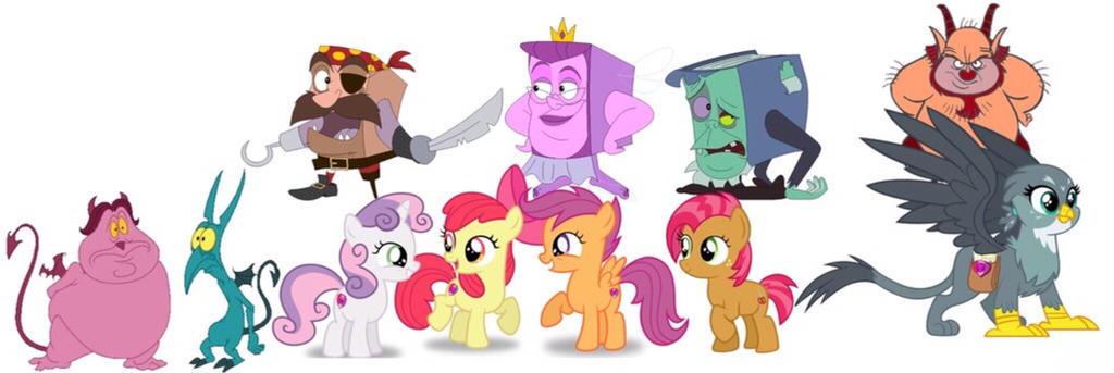 The Cutie Mark Crusaders and their closest friends by iamnater1225