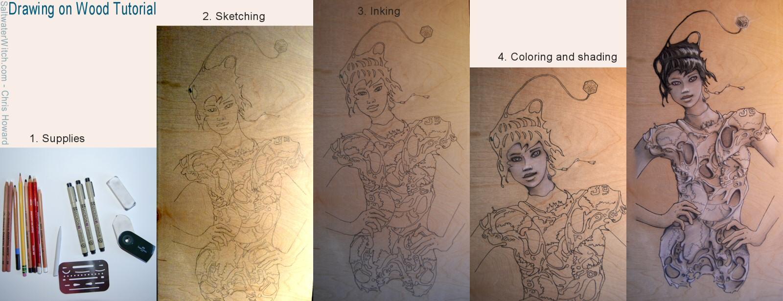 Drawing on Wood Tutorial by the0phrastus