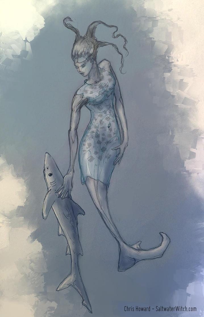 Mermaid and her pet shark by the0phrastus