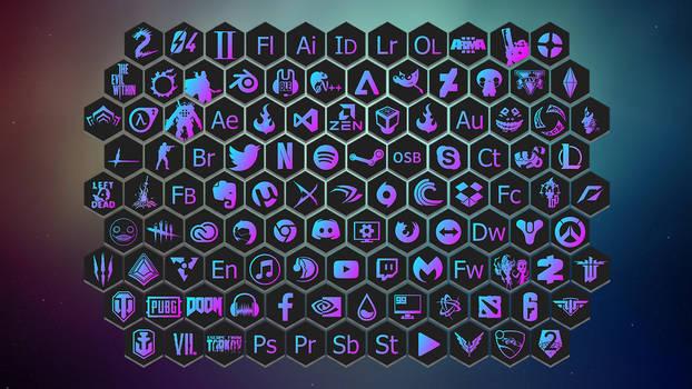 Minimalist gradiant honeycomb icons