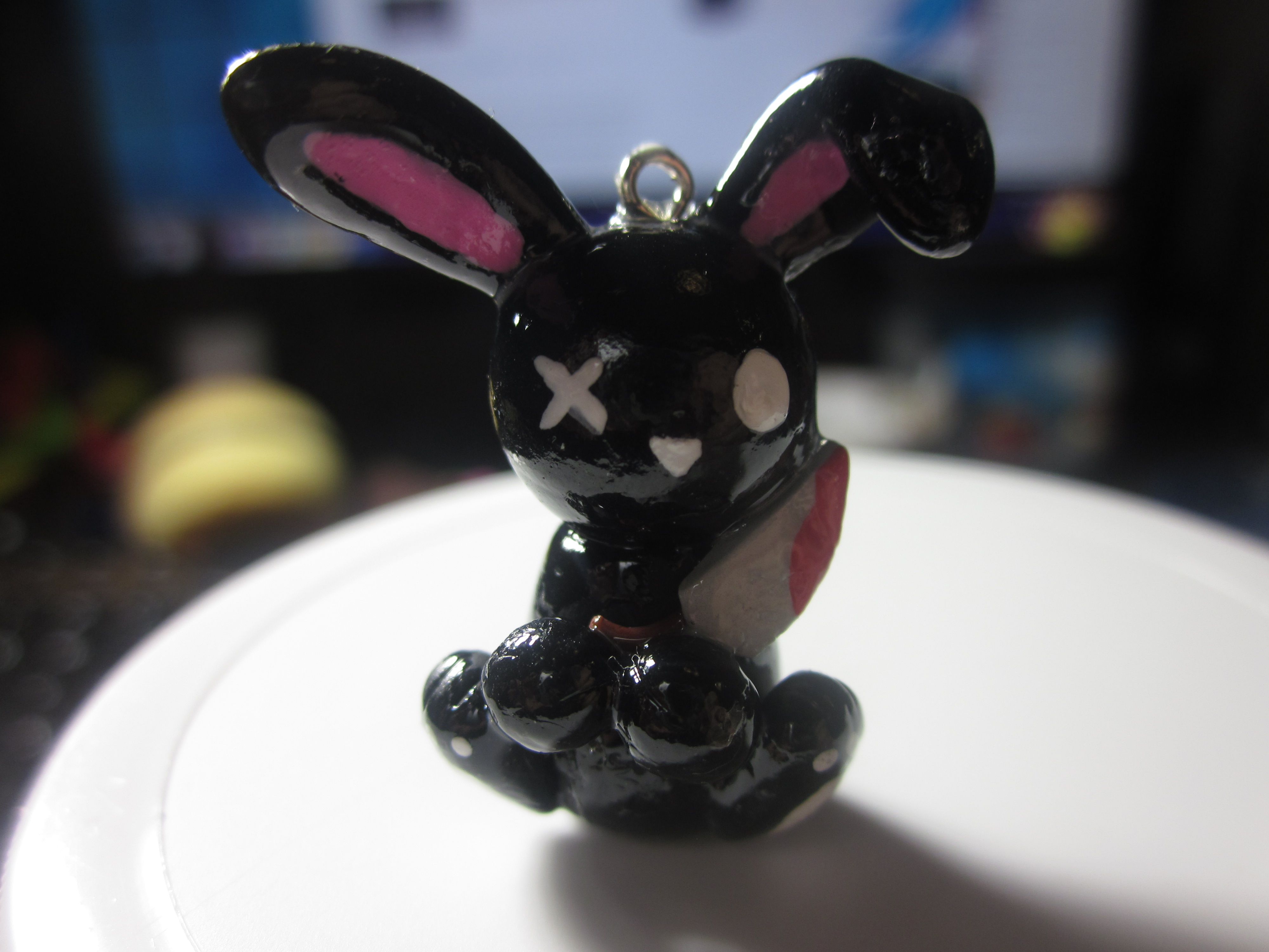 Polymer Clay Halloween Bunny Charm by Darklunax110