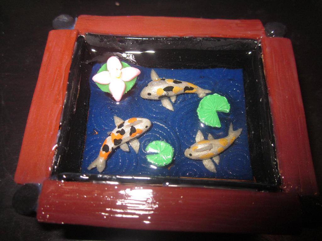 Polymer clay koi fish pond 2 by darklunax110 on deviantart for Clay fish pond