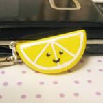 lemon slice phone charm