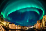 Northern lights over Trondheim city
