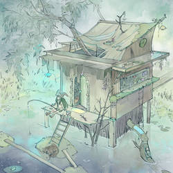 A little swamp witch and her house by Aikorn