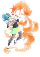 Mino and the fox spirit by Aikorn