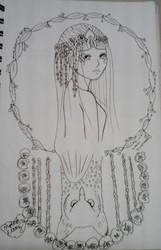 The Goddess of Spring, Blodeuwedd/Inktober day 7