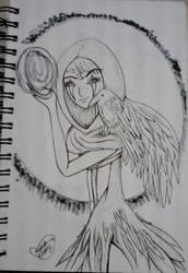 The Celtic Raven Goddess/inktober day 8