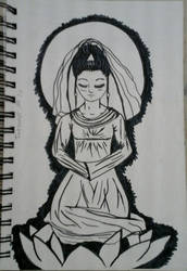The Chinese Goddess of Mercy/Inktober day 10
