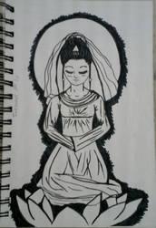 The Chinese Goddess of Mercy/Inktober day 10