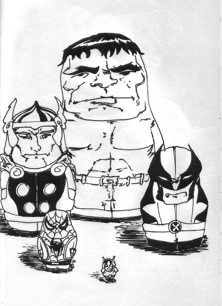 Inktober Day 20 - Marvel Matryoshka by ARX-DM