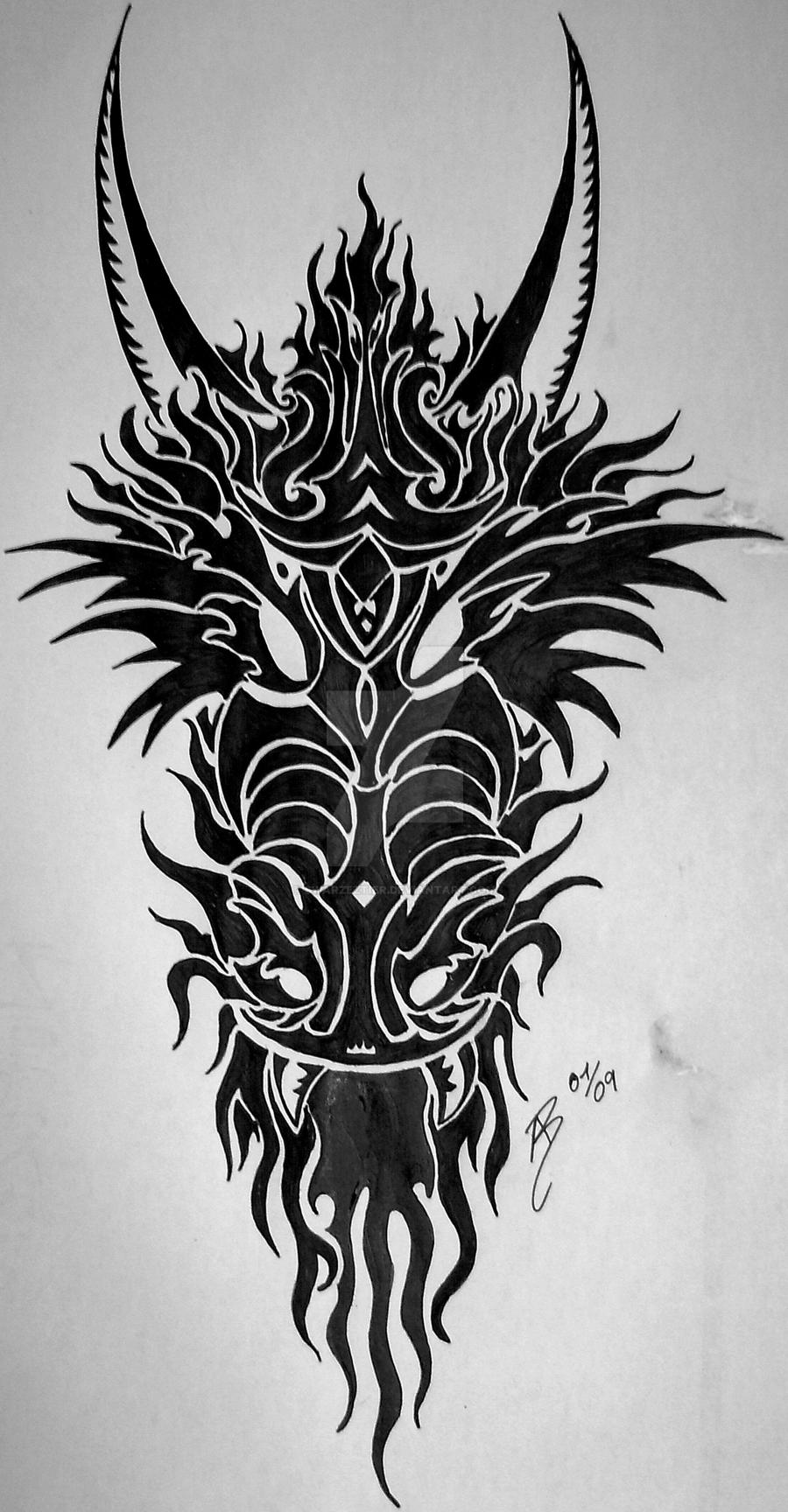 dragon head tribal by swarzeztier on deviantart. Black Bedroom Furniture Sets. Home Design Ideas