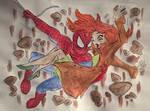 Spider-man saving MJ