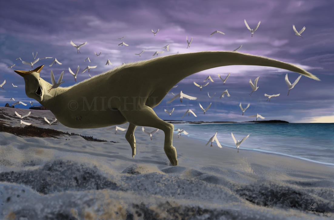 An albino Carnotaurus surprising a flock of Lectav by ...