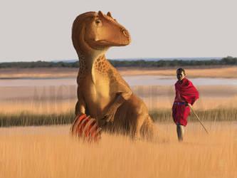 Allosaurus and masai man by puntotu