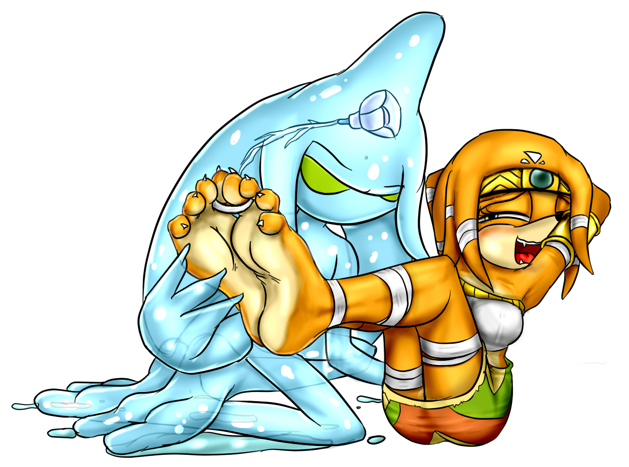 Tikal and Chaos: Ticklish couple by tickleLabs