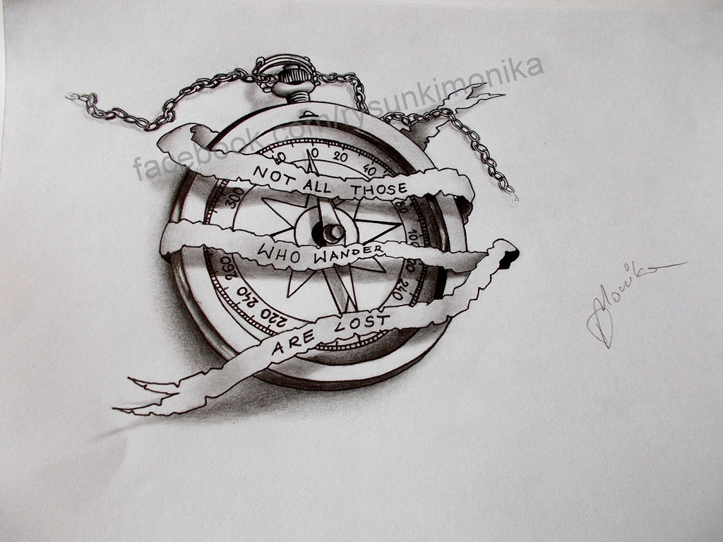 Compass Tattoo Line Drawing : Compass by mydrawings on deviantart