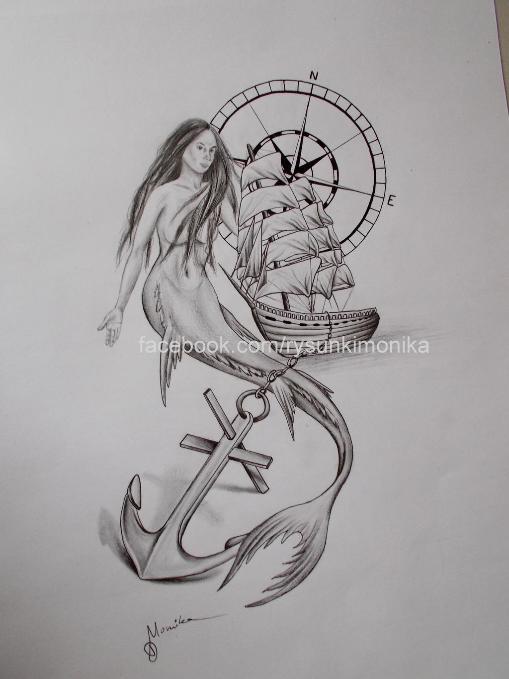 Traditional siren tattoos