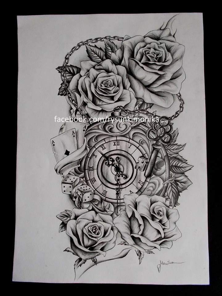 tattoo design roses and clock by mydrawings11 on deviantart. Black Bedroom Furniture Sets. Home Design Ideas