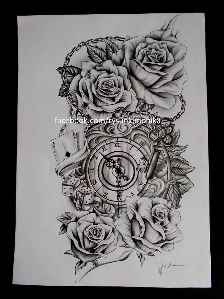 Clock And Roses Tattoo Drawings