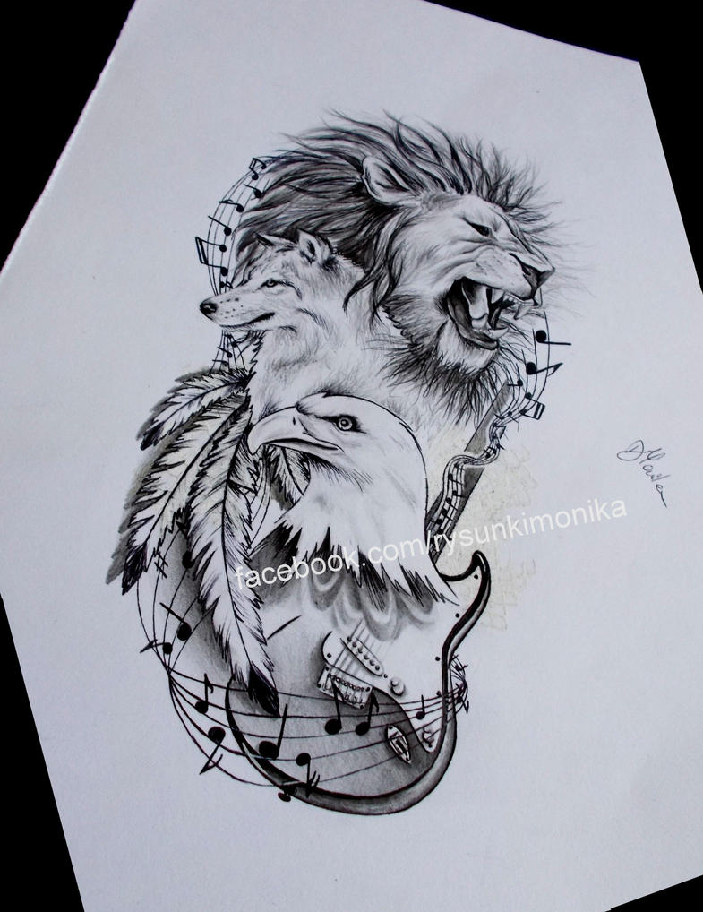 tattoo design- animals by mydrawings11
