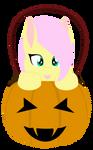 Fluttershy in a pumpkin bucket - Vector -Lineless by AllTimeMine