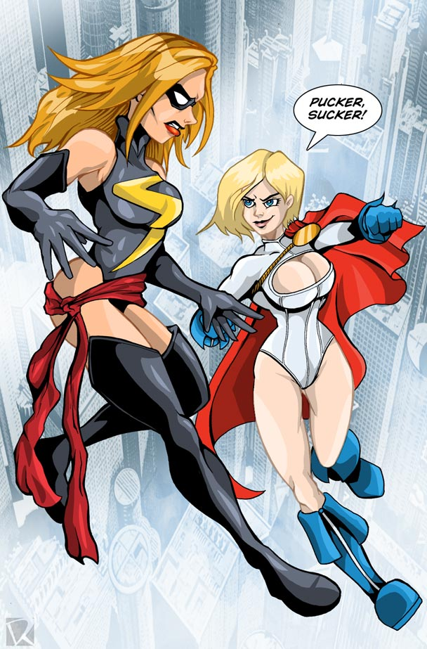 Ms. Marvel vs. Power Girl by MachSabre