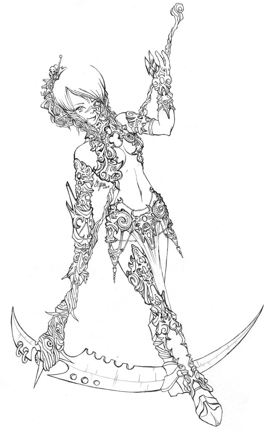 Line Drawing Female : Female warrior lineart by zlide on deviantart