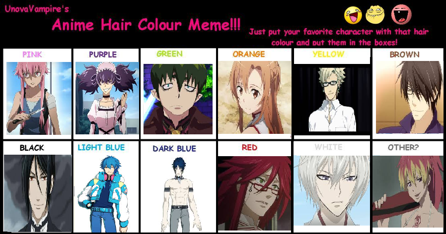 Anime Hair Color Meme By BrookHayes12