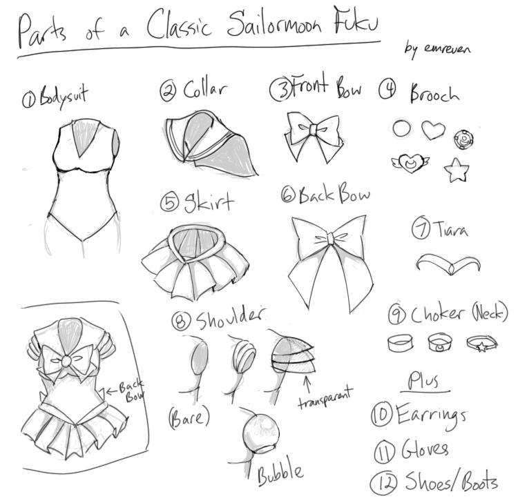 basic sailormoon fuku reference guide by emreven on deviantart