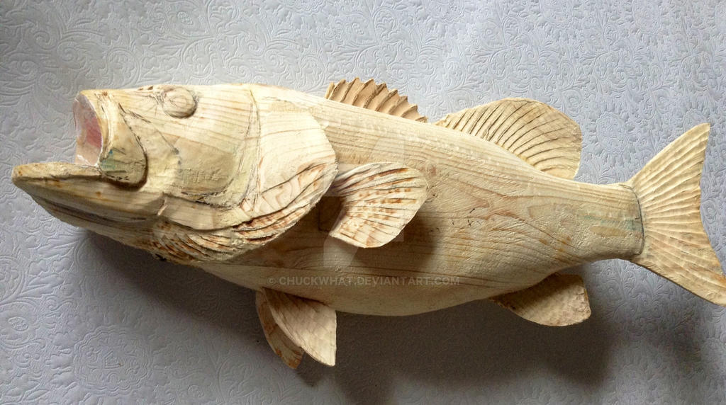 Wood carved smallmouth bass by chuckwhat on deviantart