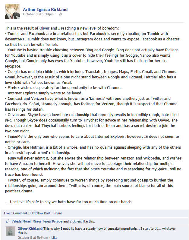 Hetalia Facebook: Social Media Drama by Arthur-UK-Kirkland
