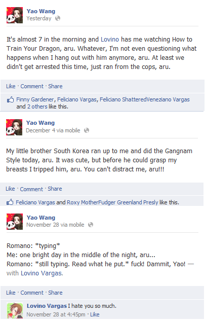 Hetalia Facebook: China's Random Status Updates by Arthur-UK